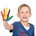 Happy smiling boy with a painted hands isolated on white Royalty Free Stock Photo