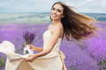 Happy smiling bride at purple lavender field Royalty Free Stock Photo