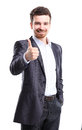 Happy smiling business man with thumbs up gesture young isolated over white background Royalty Free Stock Photo