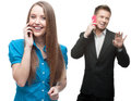Happy smiling business people calling by mobile telephone Royalty Free Stock Photo