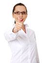 Happy smiling business woman with thumbs up Stock Images