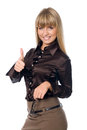 Happy smiling business woman with thumbs up gesture isolated over white background Stock Images