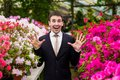 Happy smiling businessman in a business suit Royalty Free Stock Photo