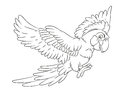 Happy smiling cartoon flying parrot coloring page