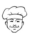 Happy smiling chef with a little doodle sketch in black and white of moustache wearing traditional white toque Royalty Free Stock Photography