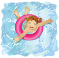 Happy and smiling child floats in water the girl lifesaver girl with blue eyes red hair Royalty Free Stock Images