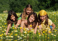 Happy smiling children in summer Royalty Free Stock Photo
