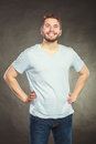 Happy smiling content handsome man guy. Royalty Free Stock Photo