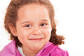 Happy smiling curly haired brunette preschooler Stock Images