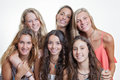 Happy smiling faces with white teeth of summer camp teens Royalty Free Stock Photo