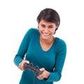 Happy smiling female gamer white isolated background Stock Photos