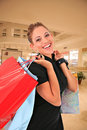 Happy smiling female shopper holding shopping bags Royalty Free Stock Photos