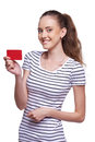 Happy smiling female showing blank credit card girl on white background Stock Photo