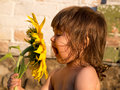 Happy smiling girl with big sunflower Royalty Free Stock Photo