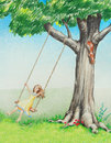 Happy smiling girl swinging on tree in nature young female swing enjoys playing outside summer and child is healthy and hand drawn Royalty Free Stock Images