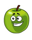 Happy smiling healthy green apple vector cartoon illustration of a with a stem isolated on white Stock Photo