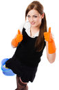 Happy smiling house cleaning girl Royalty Free Stock Image