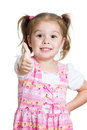 Happy smiling kid girl with ok hand sign approval Royalty Free Stock Images
