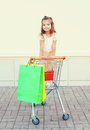 Happy smiling little girl child sitting in trolley cart with colorful shopping bags Royalty Free Stock Photo