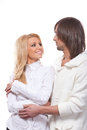 Happy smiling lovely couple over white Stock Photo