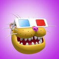 Happy smiling orange cat head in 3d glasses. 3D illustration.
