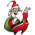 Happy smiling santa claus cartoon character carrying a bag in red suit and presenting by making presentation gesture Royalty Free Stock Image