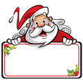 Happy smiling santa claus cartoon character presenting message o on a white placard with mistletoes Royalty Free Stock Images