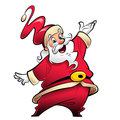 Happy smiling santa claus cartoon character presenting and wishi in red suit making a presentation gesture Stock Photos