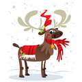 Happy smiling santa claus reindeer cartoon character with mistle in suit while snowing Stock Photos