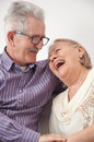 Happy smiling senior couple enjoys hugs Royalty Free Stock Photography