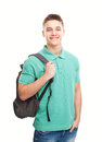 Happy smiling student with backpack portrait of isolated on white background Royalty Free Stock Photos