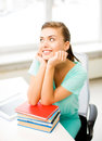 Happy smiling student girl with books Royalty Free Stock Photo
