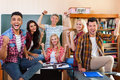 Happy Smiling Student High School Group In University Classroom, Successful Excited Young People Cheerful Facial Royalty Free Stock Photo