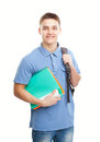 Happy smiling student with his notebook and backpack portrait of isolated on white background Stock Photo