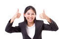Happy smiling successful business woman showing thumb up gestu gesture white isolated background Stock Images