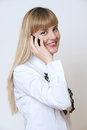 Happy smiling successful businesswoman with cell phone, Stock Images