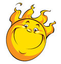 A happy smiling sun with flames hair Royalty Free Stock Image