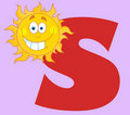 Happy smiling sun with letters s Stock Images
