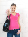 Happy and smiling teenage girl bright indoors picture of calm Royalty Free Stock Photo