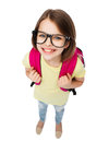 Happy smiling teenage girl in eyeglasses with bag Royalty Free Stock Photo