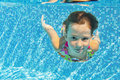 Happy smiling underwater child in swimming pool Stock Photos