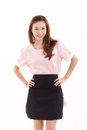 Happy, smiling woman arms akimbo with apron Royalty Free Stock Photo