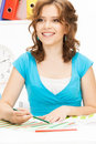 Happy and smiling woman bright picture of Stock Photos