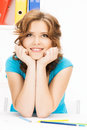 Happy and smiling woman bright picture of Royalty Free Stock Photo