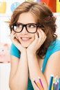 Happy and smiling woman bright picture of Stock Photo