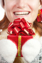 Happy smiling woman in christmas hat Royalty Free Stock Images