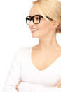 Happy and smiling woman in specs picture of Stock Photography