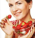 Happy smiling woman with strawberry young beautiful r Stock Photo