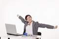 Happy smiling working business woman of asian on white background Royalty Free Stock Images