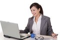 Happy smiling working business woman of asian on white background Royalty Free Stock Photos